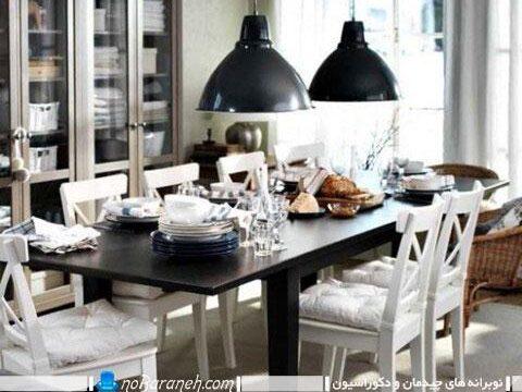نورپردازی میز نهارخوری با چراغ های آویز دو قلو