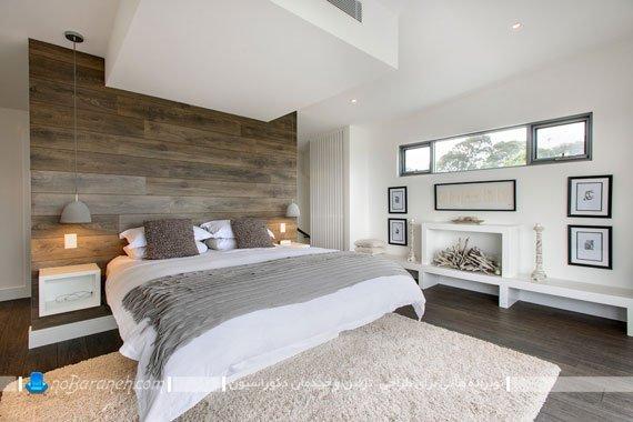 سرویس خواب مدرن با تاج چوبی بزرگ و یک تکه