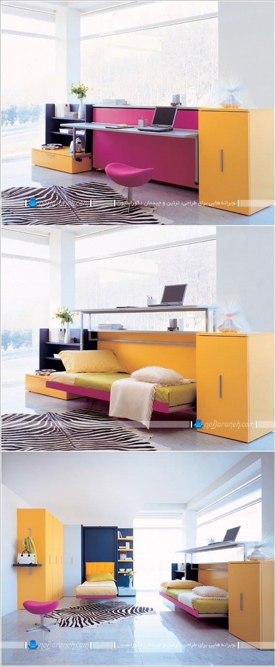 تخت خواب و میز کامپیوتر اتاق کودک