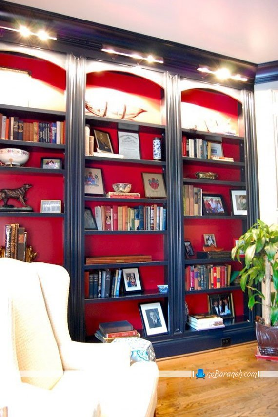 مدل کتابخانه چوبی کلاسیک / عکس