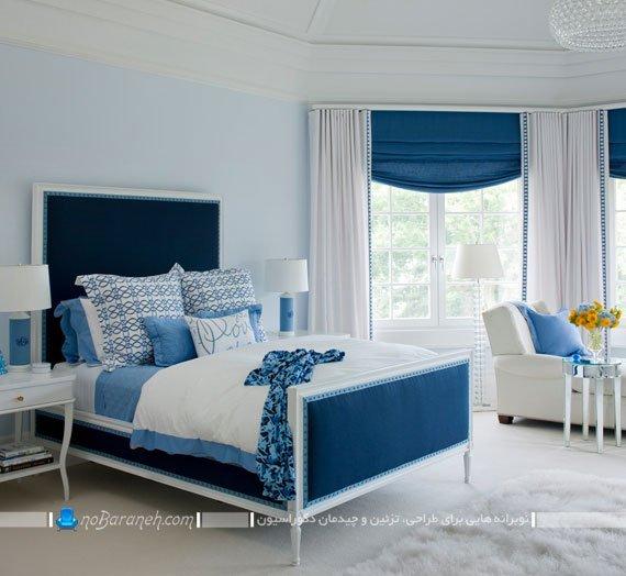 طراحی دکوراسیون اتاق خواب با رنگ آبی و به شکل کلاسیک