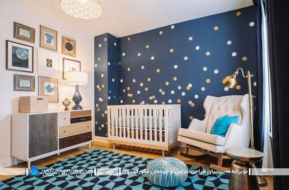 طراحی دکوراسیون شیک و مدرن اتاق کودک نوزاد