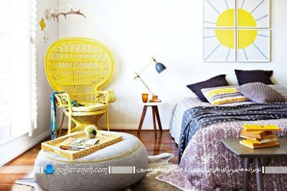 تزیین اتاق خواب با رنگ زرد / عکس