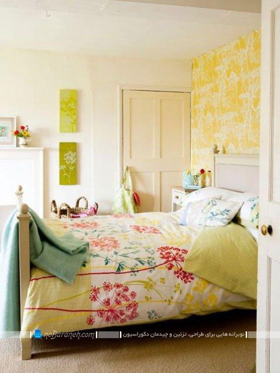 کاغذ دیواری زرد رنگ اتاق خواب / عکس