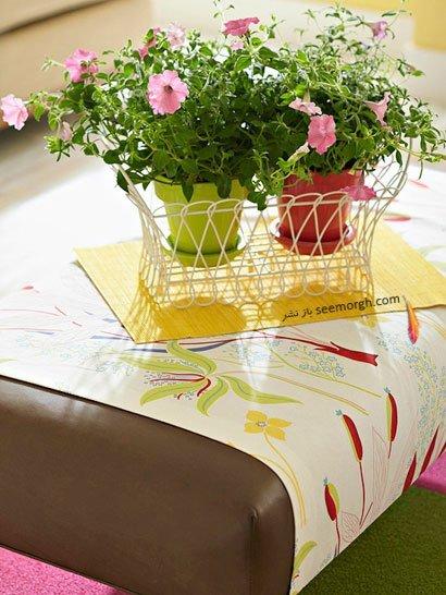 تزیین میز جلو مبلی با گلهای بهاری / عکس