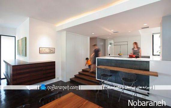آشپزخانه اپن با معماری دوبلکس و مدرن