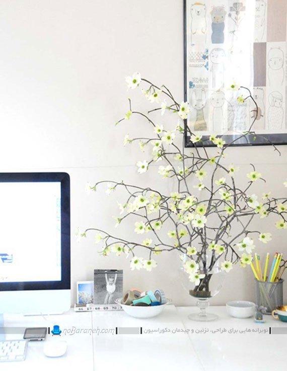 تزیین اتاق کار کوچک با گلدان / عکس