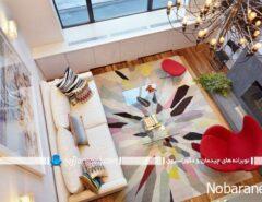 طراحی دکوراسیون اتاق نشیمن با رنگ های شاد