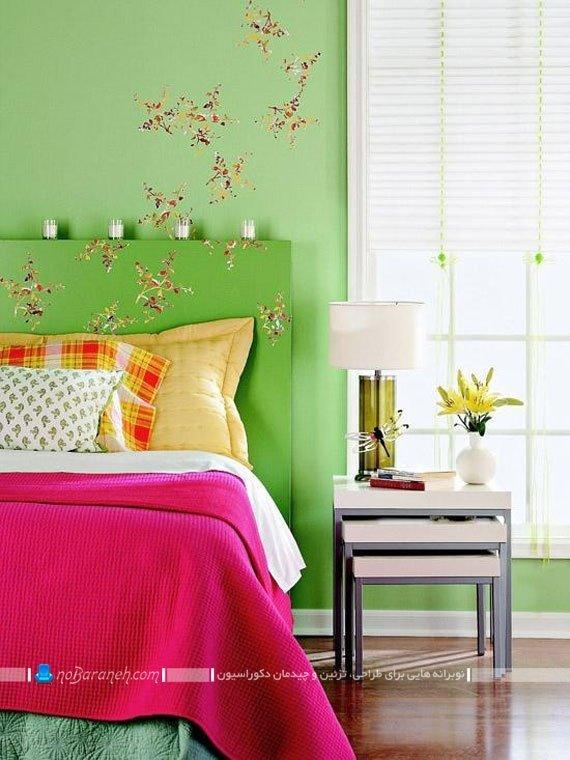 تزیین اتاق عروس با رنگ های سبز و زرد و صورتی / عکس