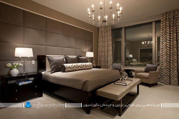 تزیین و طراحی دکوراسیون مدرن اتاق خواب با دیوارپوش و تزیینات کرم و قهوه ای