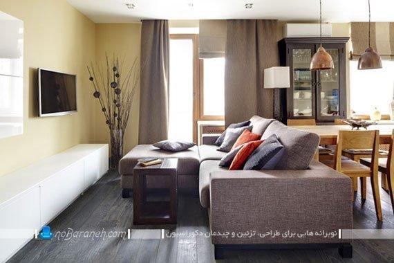 چیدمان کاناپه در سالن خانه های کوچک / عکس