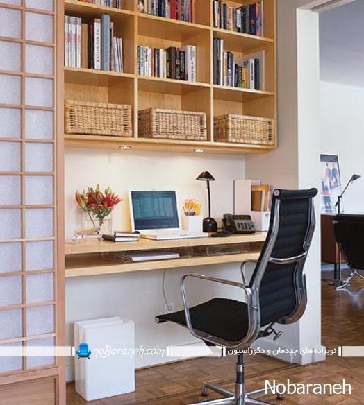 طراحی و دیزاین اتاق کار اداری با مبلمان و تزیینات ساده