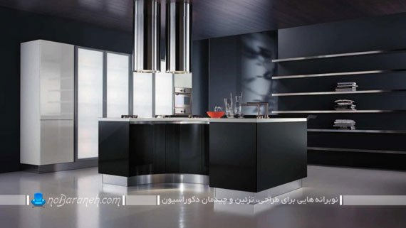 آشپزخانه مدرن با رنگ زمینه سیاه / عکس