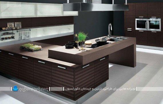 طراحی دکوراسیون مدرن آشپزخانه با رنگ های تیره / عکس