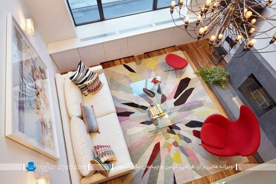 دیزاین شیک خانه دوبلکس با ترکیب رنگ های سرد و گرم