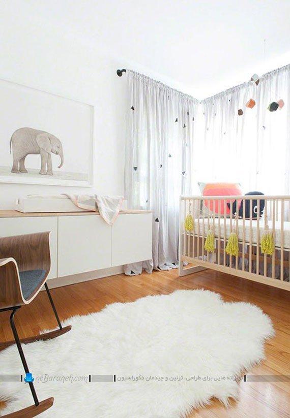 دکوراسیون شیک اتاق نوزاد با رنگهای روشن