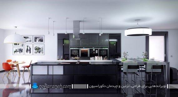 دیزاین آشپزخانه با رنگ های تیره و سیر