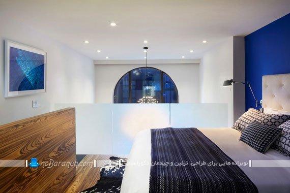 طراحی دکوراسیون اتاق خواب با سفید و آبی / عکس
