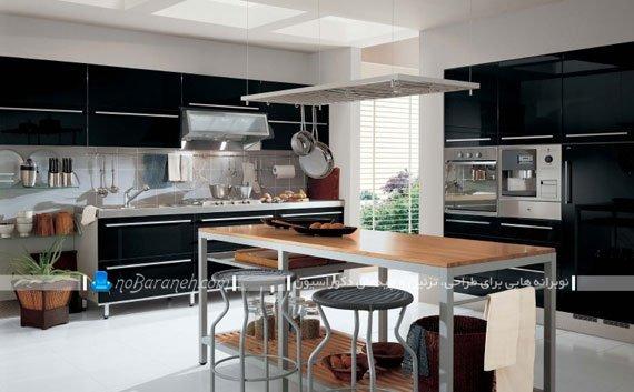 طراحی دکوراسیون آشپزخانه با رنگ سیاه مدل جدید میز جزیره آشپزخانه