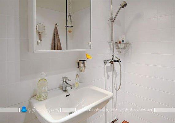 دکوراسیون حمام و روشویی با رنگ سفید