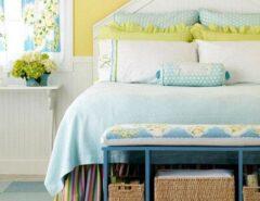 تزیین تخت خواب عروس و داماد با رنگهای شاد