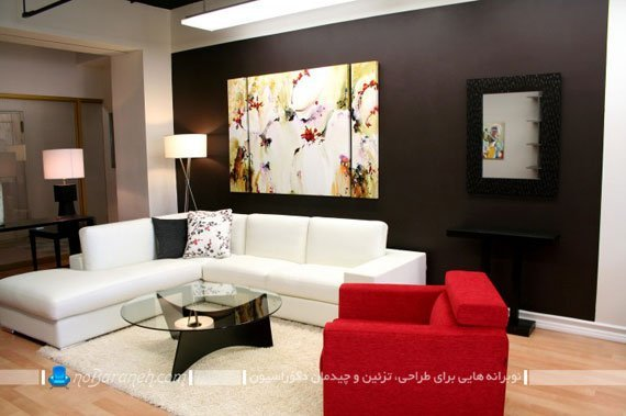 ترکیب رنگ های سیاه و سفید و قرمز در اتاق نشیمن / عکس