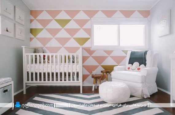 تزیین اتاق نوزاد با اشکال هندسی / عکس