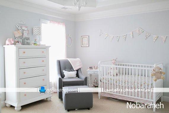 دیزاین اتاق نوزاد با رنگ سفید
