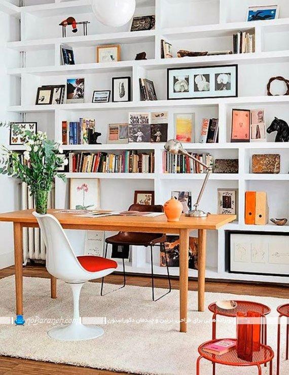 کتابخانه و قفسه بندی چوبی / عکس