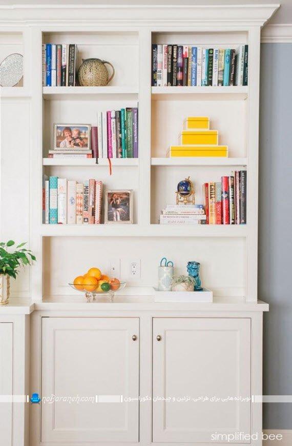 کتابخانه و قفسه بندی چوبی خانگی / عکس