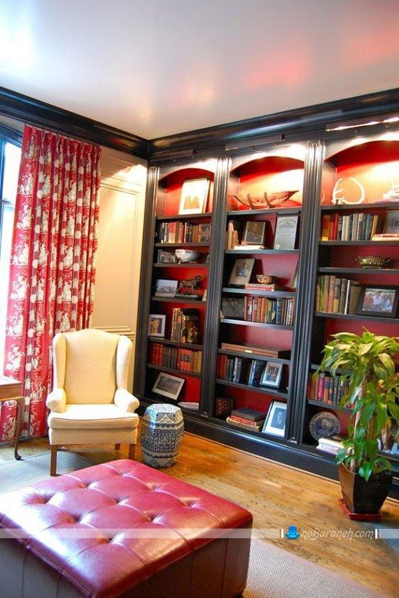 کتابخانه چوبی و دیواری کلاسیک