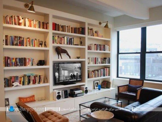 مدل کتابخانه چوبی دیواری / عکس