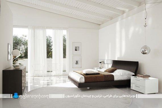اتاق خواب طراحی دکوراسیون اتاق خواب عروس با رنگ سفید و سرویس خواب مدرنبا طراحی دکوراسیون ساده ولی مدرن