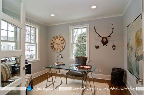 میز مدیریت چوبی و شیشه ای / عکس