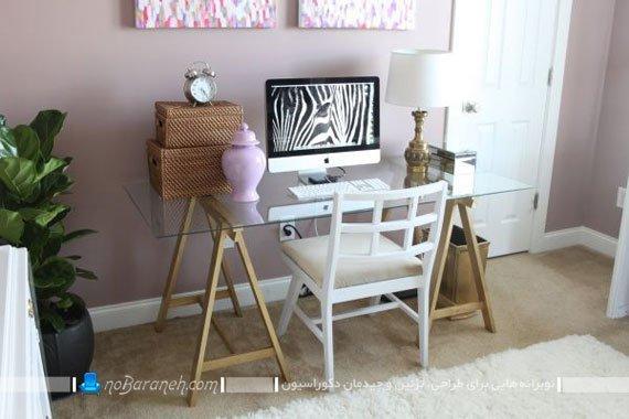 میز تحریر شیشه ای با پایه های چوبی / عکس