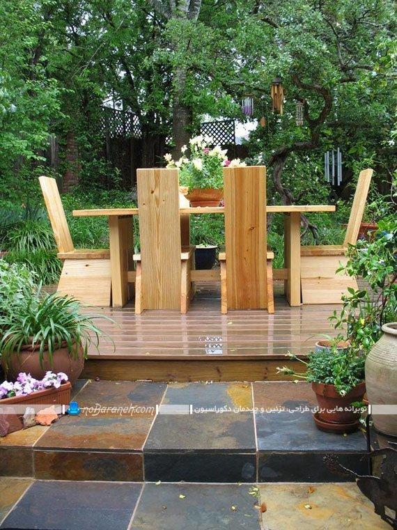 مدل میز ناهار خوری چوبی فضای باز