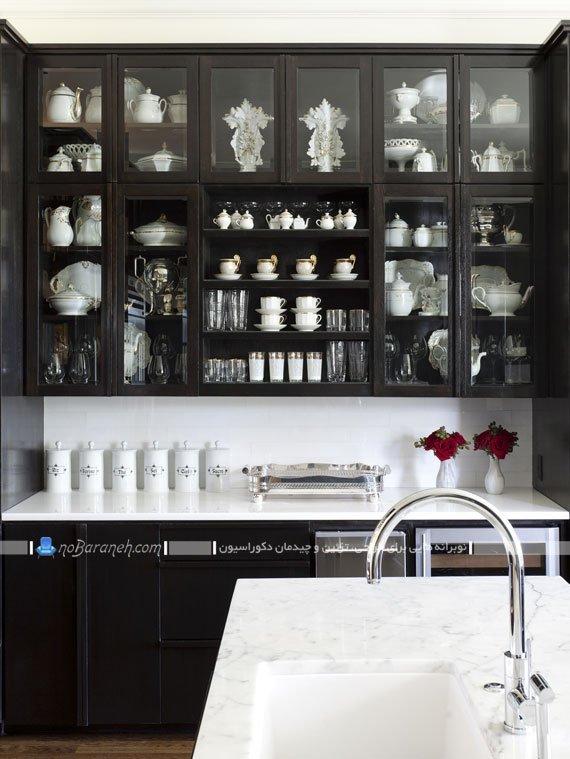 مدل کابینت سیاه و سفید آشپزخانه دیزاین کلاسیک آشپزخانه با سیاه و سفید