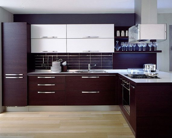 دکوراسیون آشپزخانه مدرن شیک با قهوه ای و سفید