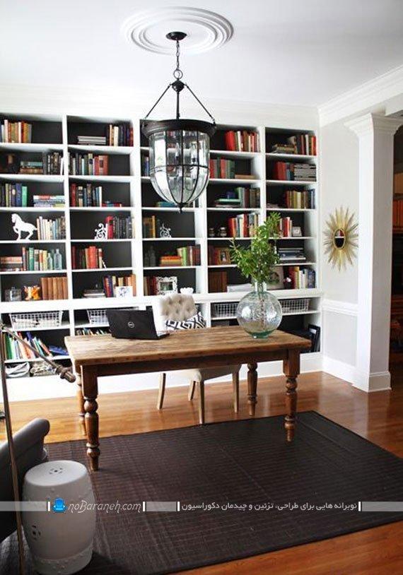 کتابخانه خانگی بزرگ چوبی