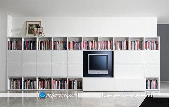 کتابخانه بزرگ و جادار چوبی با فضای مخصوص تلویزیون