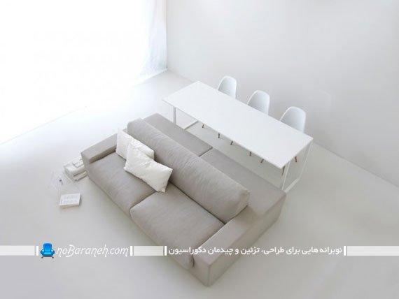 مبلمان اتاق نشیمن با طراحی کم جا / عکس