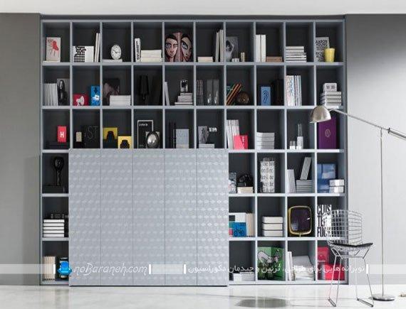 قفسه و کتابخانه چوبی بزرگ / عکس