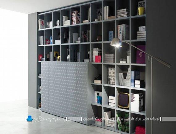 طرح جدید قفسه و کتابخانه چوبی بزرگ / عکس