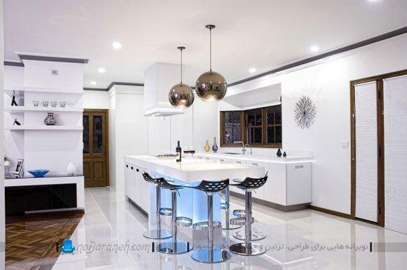 عکس و مدل های نورپردازی میز اپن آشپزخانه