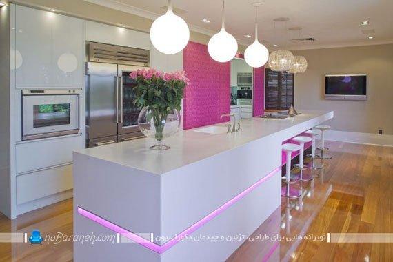 نورپردازی سطح روی میز اپن با چراغ های روشنایی ساده