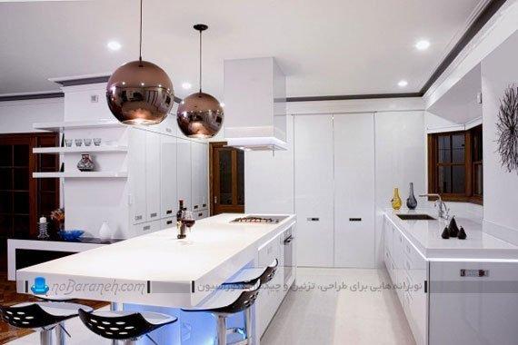 نورپردازی و نور مخفی اپن آشپزخانه