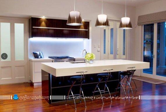 مدل کابینت نورپردازی شده آشپزخانه