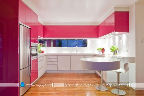 نورپردازی در آشپزخانه مدرن با کابینت های سفید و صورتی
