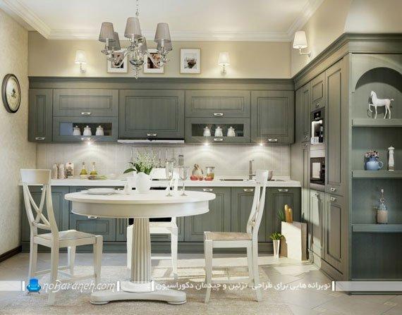 آشپزخانه اپن با کابینت کلاسیک