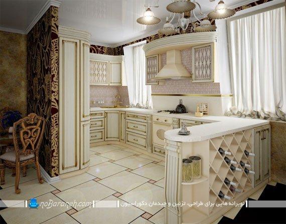 آشپزخانه اپن کلاسیک با کابینت ممبران